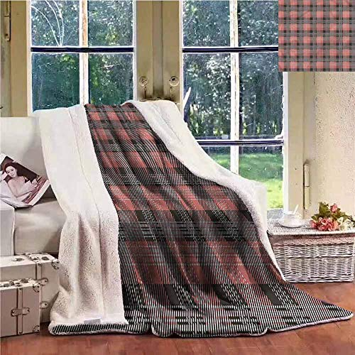 (Sunnyhome Winter Quilt Tartan Checkered Square Tiles Lines Personalized Baby Blanket W59x47L)