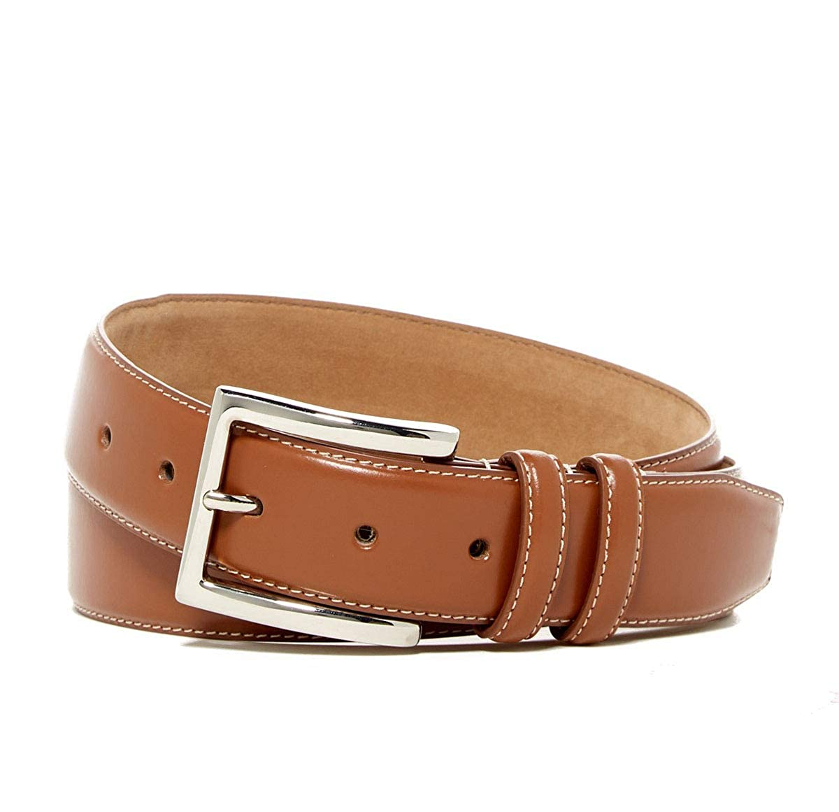 Size 34 Cognac Cole Haan Mens Feather Edge Leather Belt