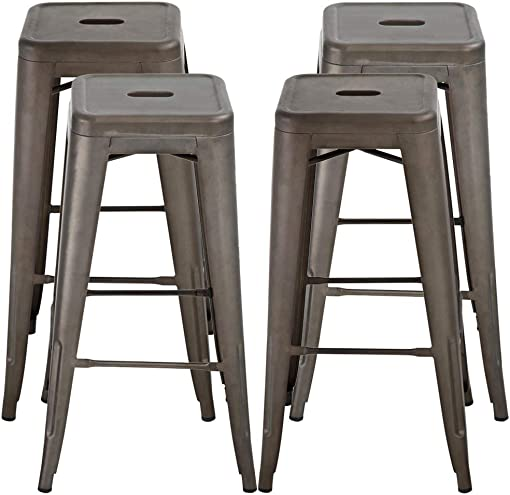 30 Inches Bar Stools Set of 4 Bar Stools Counter Height Metal Stool Patio Stool Stackable Barstools Kitchen Counter Stool Indoor/Outdoor Stool Metal Bar Stools Moden Dining Chairs