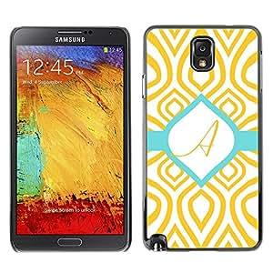 LECELL--Funda protectora / Cubierta / Piel For Samsung Galaxy Note 3 N9000 N9002 N9005 -- A Initial Teal Green Gold Pattern --