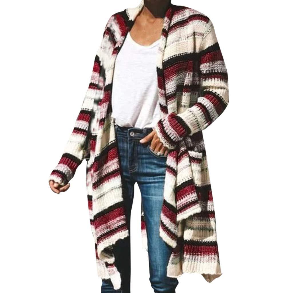 VOWUA Womens Fashion Stripe Cardigans Open Front Oversized Long Sleeve Retro Knit Sweater Coat