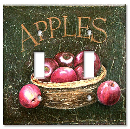 Art Plates - Dark Apples Switch Plate - Double Toggle - Dark Switchplates