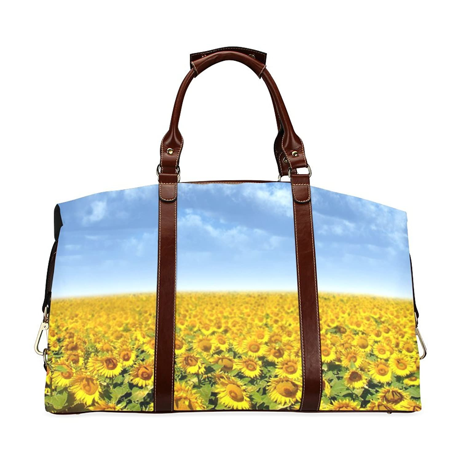Sunflower Flied and Blue Sky Custom Waterproof Fabric Two-sided Printing Flight Bag