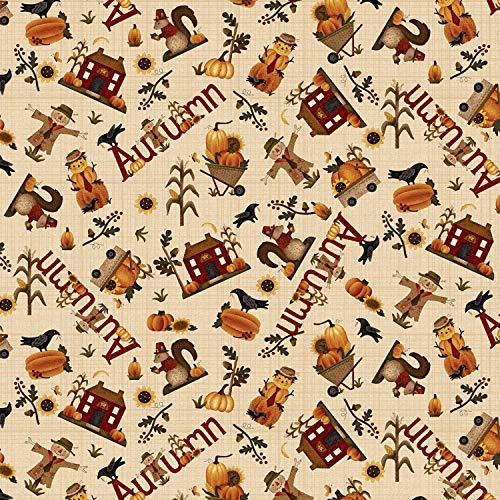 - Buttermilk Autumn Cream Novelty Toss by Stacy West Buttermilk Basin from Henry Glass 100% Cotton Quilt Fabric 2273-33