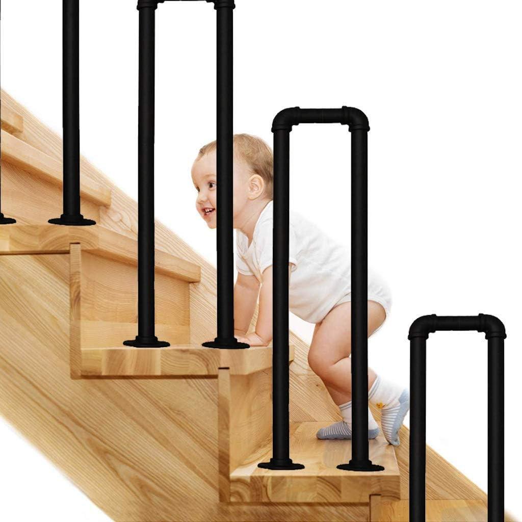 Pasamanos de escalera En Forma De U Barandilla De Hierro Forjado, Paso Negro Mate Galvanizadas De Escalera Baranda, Interiores O Exteriores De Ancianos Seguridad Antideslizante Barra De Soporte, 1pack