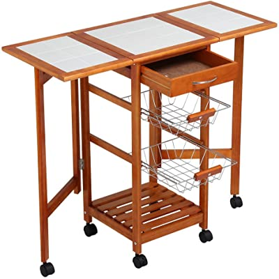MRT SUPPLY Portable Rolling Drop Leaf Kitchen Storage Island Cart Trolley Folding Table with Ebook