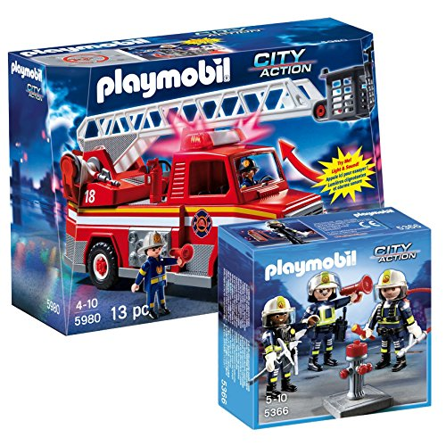 PLAYMOBIL Rescue Ladder Unit and Fire Rescue Crew Set