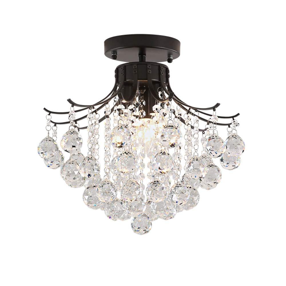 Retro Kristall Deckenlampe E14 Metall Deckenleuchte Schwarz Metall Leuchte Rund Pendelleuchte Glas Lampe beleuchtung Wandleuchte Wohnzimmer Schlafzimmer Esstischlampe Küche Loft Korridor Flur, L30cm