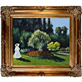 overstockArt Monet Jeanne Oil Painting, Bronze Finish Marguerite Lecadre Lady in a Garden with Renaissance Bronze Frame