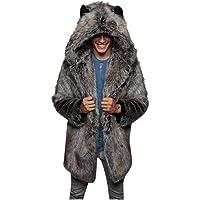 Abrigos Hombre Invierno Elegante Piel Sintética con Capucha Abrigo Vison Chaqueta Patrón de Tigre y Leopardo Cazadoras…