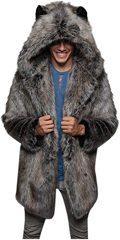 YYear Mens Thicken Hooded Warm Faux Fur Collar Winter Fleece Lined Outwear Jacket