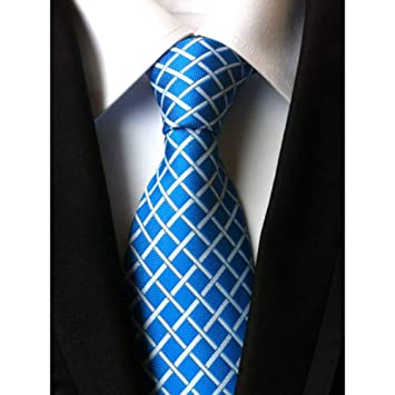 XZ Corbata de moda Nuevo clásico 8Cm Cheques Azul Amarillo Negro ...