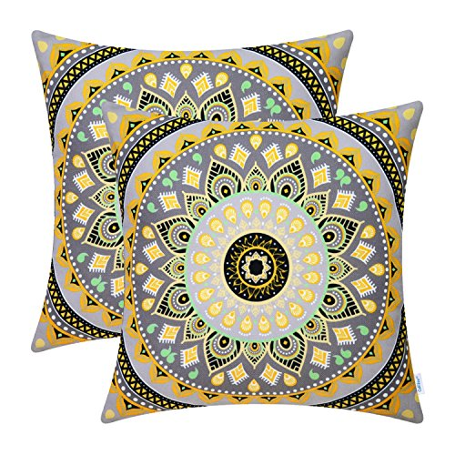 CaliTime Pack of 2 Soft Canvas Throw Pillow Covers Cases for Couch Sofa Home Decor Retro Mandala Pattern Compass Medallion 18 X 18 Inches ()