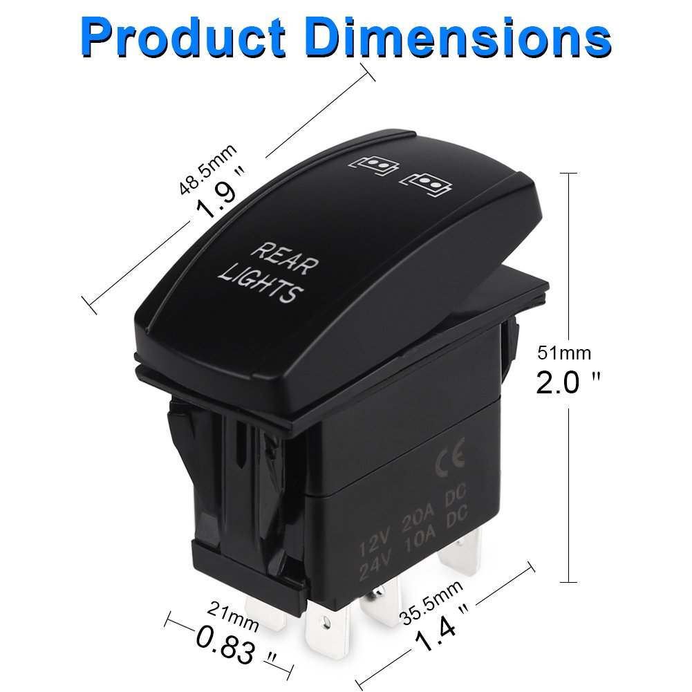 Waterwich 5 Pin Rear Lights Illuminated Rocker Toggle Switch Wiring Diagram Waterproof With Jumper Wires Set Dc 20a
