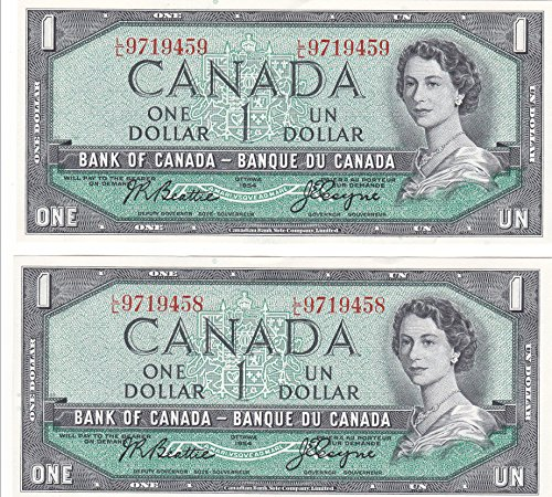 Two 1954 Canadian Dollars With Consecutive Serial Numbers