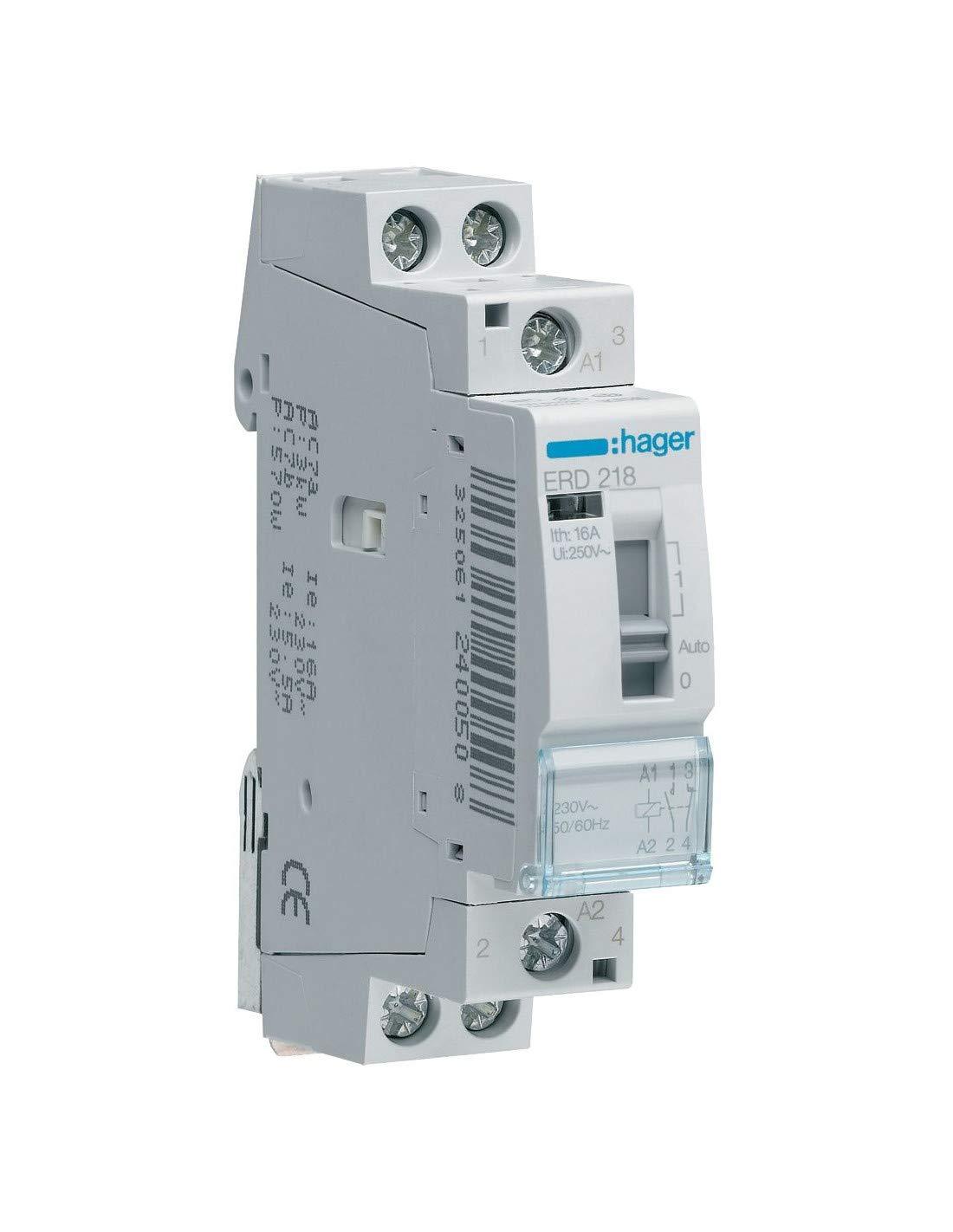HAGER erc418 Installation Relais 16 A, 2S + 2ö , 230 V 2S + 2ö 230V