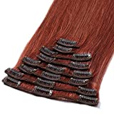 18' Clip in Hair Extension Human Hair 100% Remy 8 Pieces 18 Clips Full Head Real Hair Clip in Hair Extensions Hair Pieces for Women (70g,#33 Dark Auburn)