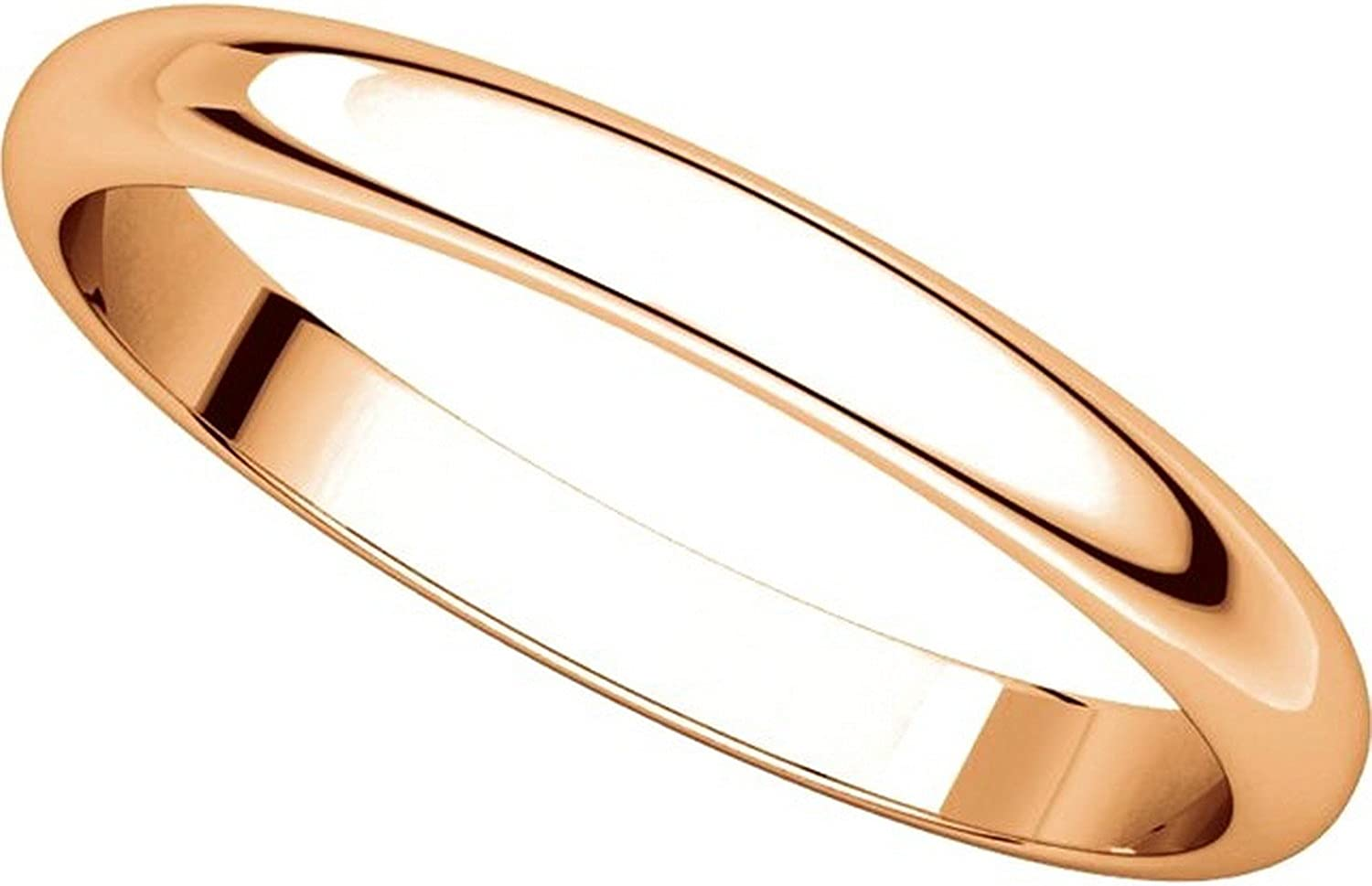 Mens and Womens 14k Rose Gold 2.5mm Wide Plain Wedding Band