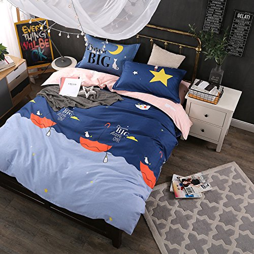 WarmGo Home Bedding Sets Full/Queen Size for Adult Kids Umbrella Duvet Cover Set 4 Piece without Comforter by WarmGo