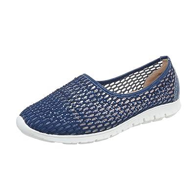 1afd6cdcb2b9c Ital-Design Chaussures Femme Mocassins Plat Slippers Bleu Pointure 37