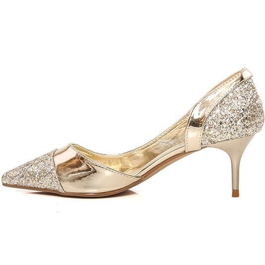 "Unze Women /""Mattie/"" Prom Glitter Textured Ladies Wedding Mid-Low Party Patent Surface Courts Evening Pointed Toe Slip On Kitten Heels UK Size 3-8"