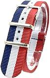 ( トリコロール/ネイビー/ホワイト/レッド 20mm ) NATO タイプ ナイロン ベルト ストラップ 腕時計 2PiS 交換マニュアル付