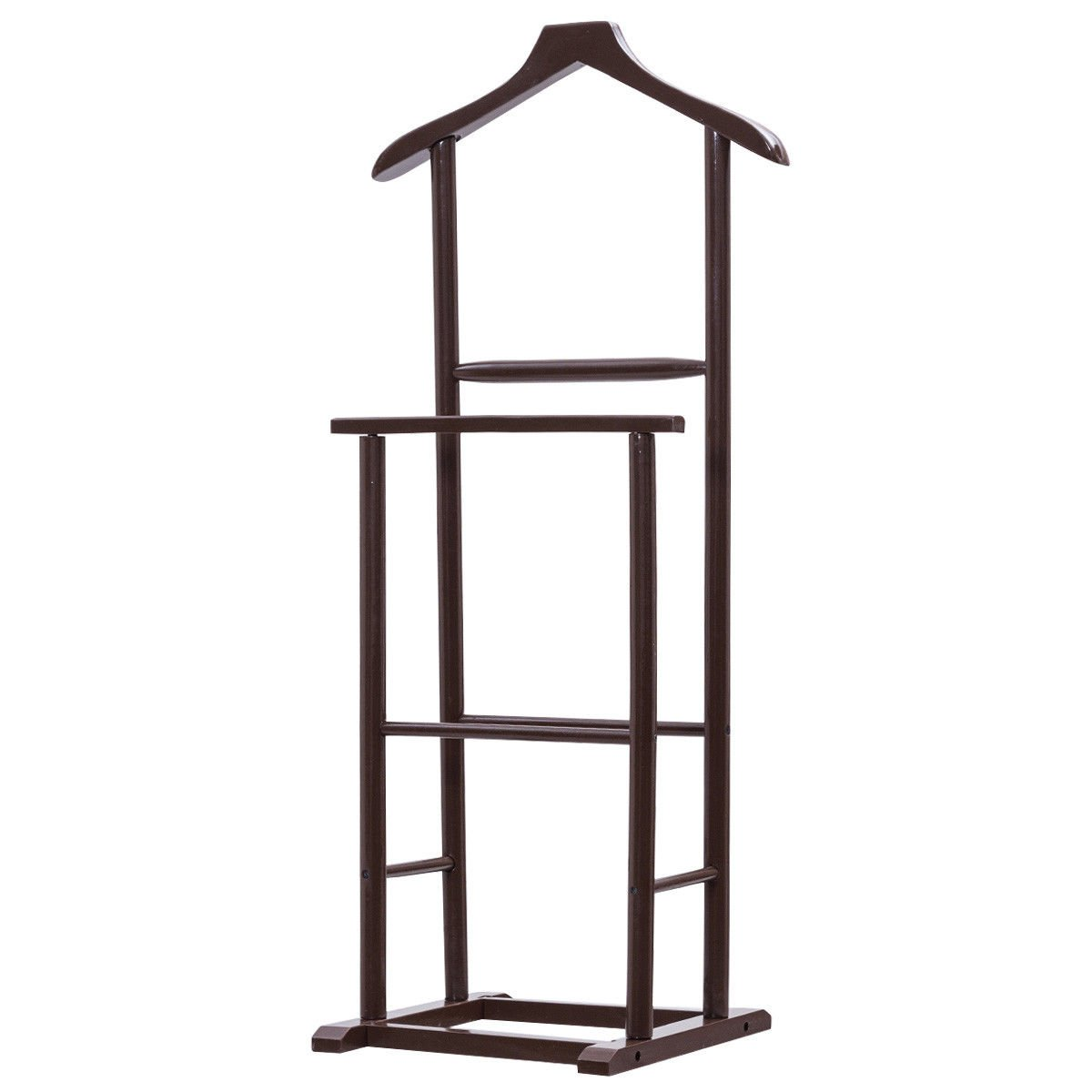 Globe House Products GHP Home Brown 19.0'' Lx14.2 Wx42.2 H Lightweight & Durable Men Double Suit Shelf/Rack