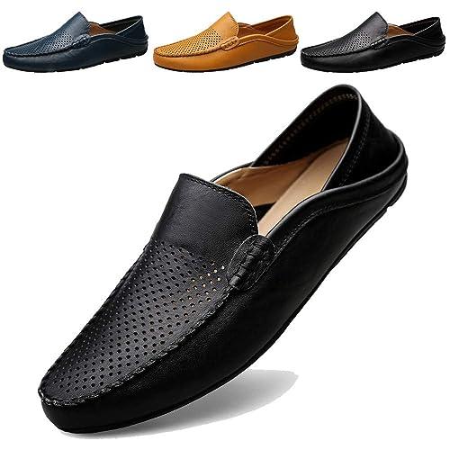 7b3d1bc780c95 ... Mocasines Hombres Zapatos de Vestir Casuales Holgazanes Slip On Verano  Plano Cuero Zapatos de Conducción Zapatillas  Amazon.es  Zapatos y  complementos
