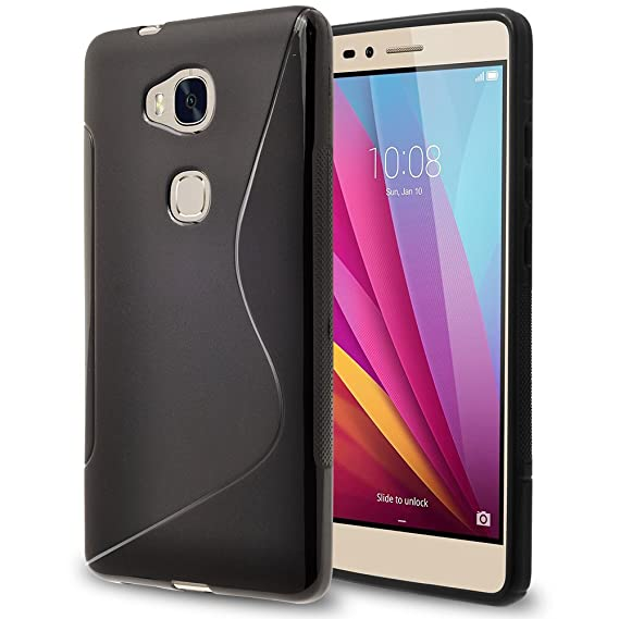 Huawei Honor 5X Case, TownShop Black Soft TPU Skin S Line Design Cover For  Huawei Honor 5X