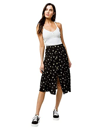 fbc06d96c3 Sky and Sparrow Floral Button Front Midi Skirt, Black Combo, X-Small