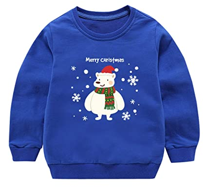 Toddler Boy Cute Christmas Sweater Cotton Pullover Spring Long Sleeve Soft Sweatshirt Tops T-Shirt