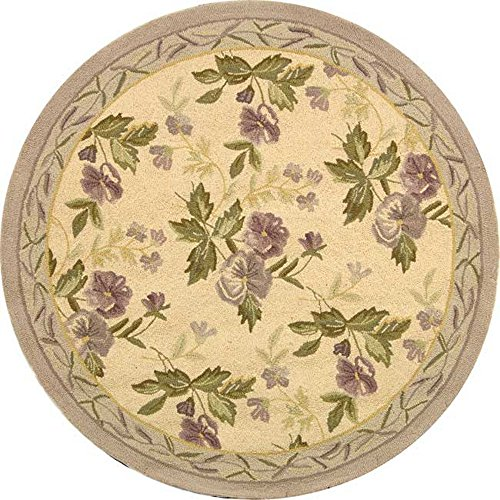Safavieh Chelsea Collection HK54A Hand-Hooked Ivory Premium Wool Round Area Rug (3' Diameter)