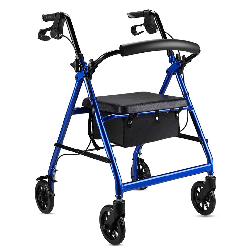 EGCLJ Lightweight Rollator Walker - with Seat and Wheels - Elderly Folding Walker with Backrest - Supports Up to 300 Lbs (Color : Blue)