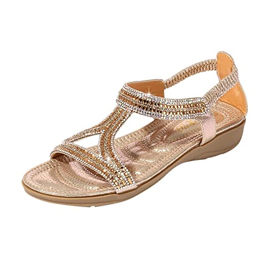 78da4e7ce {Minikoad}Women Flat Sandals,Ladies Beach Shoes Bling Crystal Bohemia  Summer Shoes (