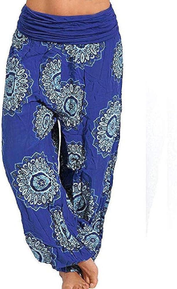 Pantalones Anchos para Mujer Pantalones Streetwear de Verano Aladin Estampado de Flores Pantalones de Cintura Alta Pantalones con cordón elástico Bohemio Tallas Grandes 5XL