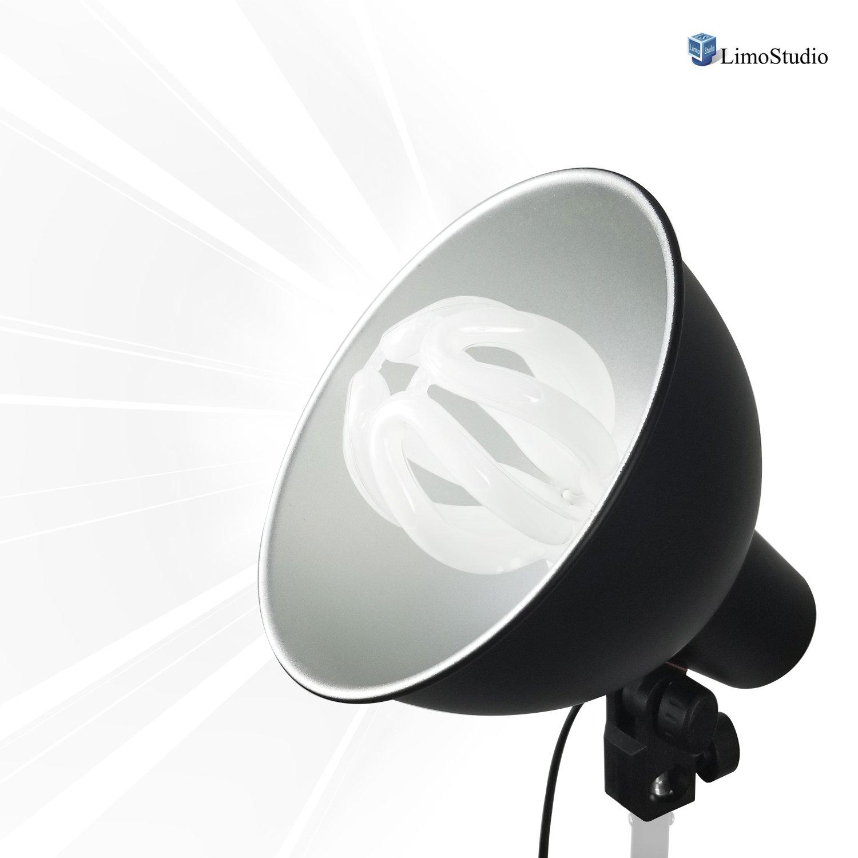 LimoStudio 5600 Kelvin 50 Watt Photography Studio Continuous Lighting Kit with Metal Reflector Lamp Dish and Up-to-80% Energy Saving Light Bulb, Photo Studio, AGG2585
