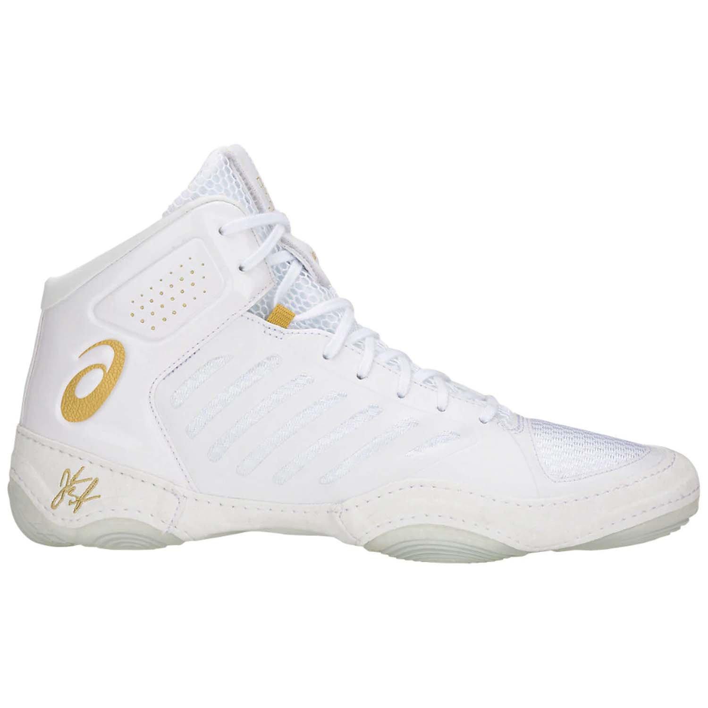 ASICS JB Elite III Men's Wrestling Shoes, White/Rich Gold, Size 8.5