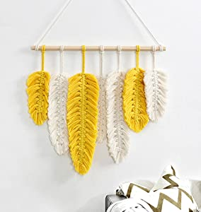 Alynsehom Macrame Wall Hanging Feather Handmade Tapestry Boho Wall Art Decor Yellow Wheat Chic Woven Leaf Tassels Decoration Cotton Ornaments for Bedroom Living Room Apartment Porch
