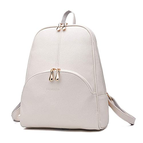 32492faebb Nevenka Brand Women Bags Backpack Purse PU Leather Zipper Bags Casual  Backpacks Shoulder Bags (Beige)  Amazon.co.uk  Luggage