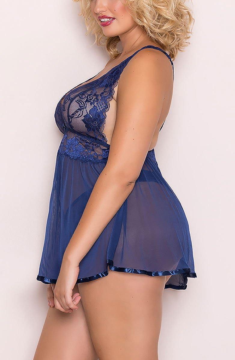 JuicyRose Open Back Lingerie Lace Babydoll Sleepwear Plus Size