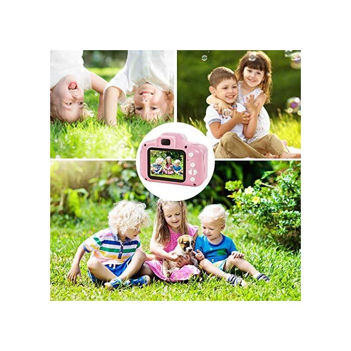 61Feg4%2BY%2BvL ❀【Video de 8MP y 1080P】 Pantalla IPS mejorada de 2.0 pulgadas recargable, esta cámara para niños viene con 8 mega pixeles incorporados en un lente poderoso frontal y posterior,en comparación con otras cámaras para niños, tiene una calidad de fotografía mucho superior. La cámara de video de juguete graba videos de hasta 1920x1080p, los niños pueden grabar cada uno de sus momentos felices en cualquier momento. ❀【Diseño a Prueba de Golpes y Material Ecológica】La cámara para niños en miniatura utiliza un diseño ecológico, no tóxico y atractivo, pequeño y liviano, muy fácil de transportar. El cordón desmontable les permite a sus hijos jugar con la cámara en cualquier momento, no solo para que aprendan a tomar fotografías, sino para capturar sus momentos felices, permitiendo que usted y sus hijos tengan una relación más cercana. ❀【Múltiples Funciones, más Diversión para los Niños】Viene con más funciones, captura de fotos, grabación de video, juegos, temporizador, zoom digital 3X, enfoque automático, etc. 6 efectos de filtro diferentes, 28 efectos de marco de fotos incorporados, aprovechando al máximo su creatividad e imaginación para hacer realidad el sueño de un pequeño fotógrafo.
