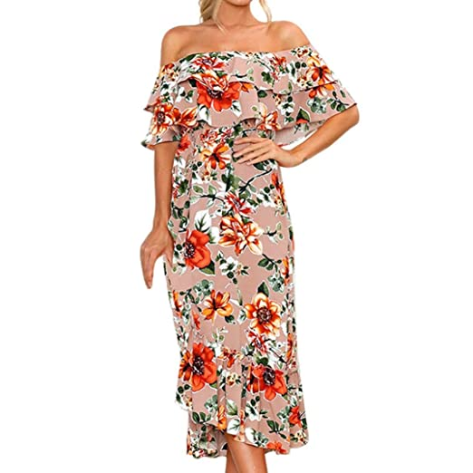cada495f36df7 Summer Dress for Womens Off Shouder Boho Long Maxi Dress Loose Plus Size  Beach Holiday Sundress at Amazon Women s Clothing store