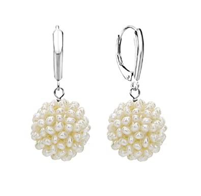 0dd601303 White Clusted Cultured Freshwater Pearl Dangle Earrings 14K White Gold  Leverback Anniversary Gift 15-16mm