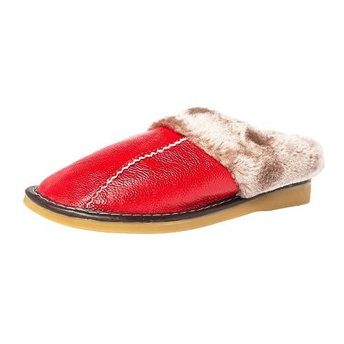 acquisto economico qualità affidabile marchi riconosciuti Haisum Donna Inverno Morbido Caldo Antiscivolo in Pelle Pantofole ...