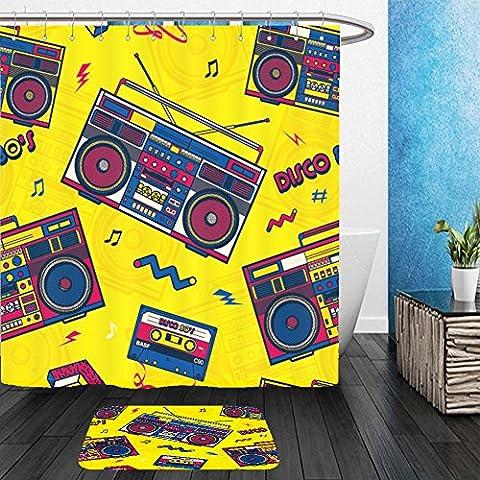 Vanfan Bathroom 2Suits 1 Shower Curtains & 1 Floor Mats retro pop eighties boombox radio seamless pattern s background wallpaper 604986146 From Bath - Echelon Echelon Shower Locker