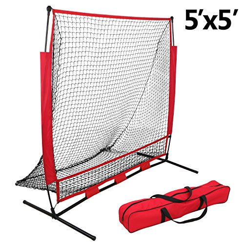 Cage Portable Backstop (HomGarden 5' x 5' Portable Baseball Softball Practice Net Hitting Batting Pitching Catching Training Aids Backstop Screen Equipment w/Carry Bag & Bow Net Frame)