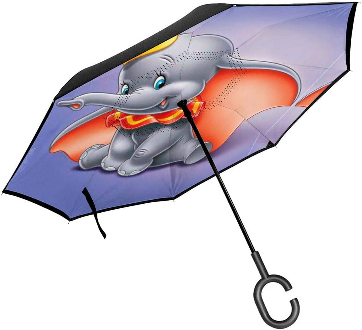Double Layer Inverted Umbrella With C-Shaped Handle Cute DUMBO Reverse Windproof Umbrella UV Protection Upside Down Umbrella