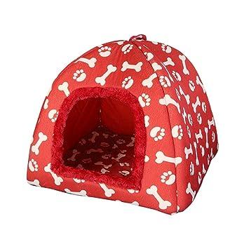 JEELINBORE Estampado Casa para Mascota Plegable Suave Caseta Cama para Perro o Gato (38 * 38 * 40cm, Rojo): Amazon.es: Hogar