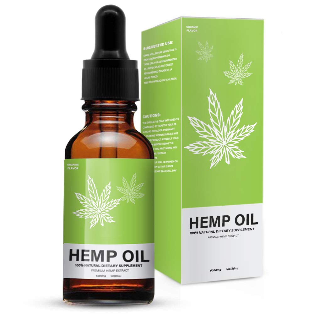 Hemp Oil Extract for Pain, Stress & Anxiety Relief - 5000 MG Sleep Support, Promotes Relaxation, Full Spectrum Extract Drops, Organic Natural Hemp Seed Oil, Rich in Omega 6, 9 Fatty Acids (30ml)