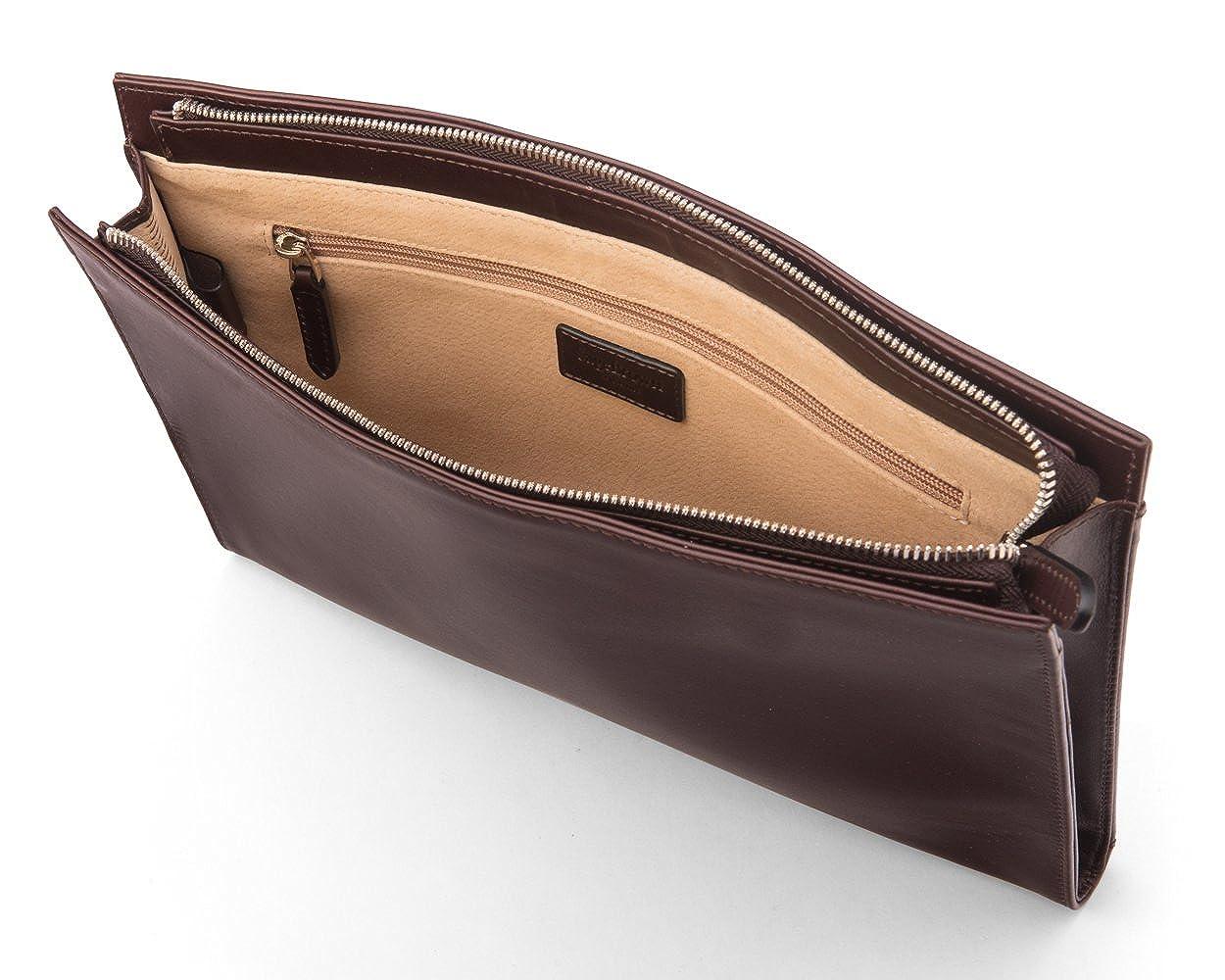 SAGEBROWN Brown Zip Top Leather Folder B078JDZZR2